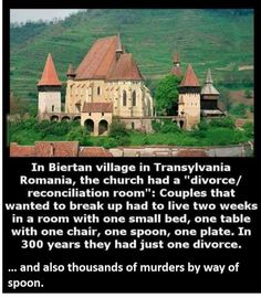 """In Biertan village (located in Transylvania, Romania) the church had a """"divorce-reconciliation room."""" Couples that wanted to get a divorce had to live in a room for two weeks with one small bed, one. Dealing With Divorce, Transylvania Romania, A Course In Miracles, Wtf Fun Facts, Crazy Facts, Random Facts, We Are The World, Faith In Humanity, Mind Blown"""