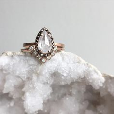 This Moissanite Unique Engagement Ring Set Two Tone Gold is just one of the custom, handmade pieces you'll find in our bridal sets shops. Wedding Rings Vintage, Vintage Engagement Rings, Diamond Engagement Rings, Wedding Jewelry, Wedding Bands, Diamond Rings, Morganite Engagement, Morganite Ring, Engagement Ring Settings