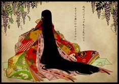 A woman dressed in junihitoe. Japanese Modern, Japanese Prints, Japanese Culture, Vintage Japanese, Geisha Kunst, Geisha Art, Heian Era, Heian Period, Polynesian Art