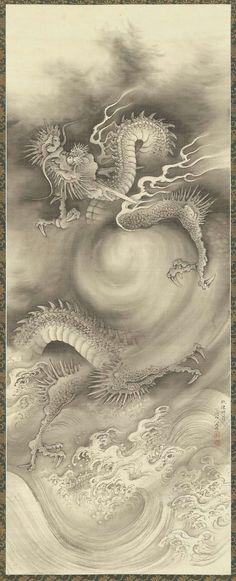 RP: Dragons 1 雲龍図 (Hanging scroll; ink on silk) by NAKABAYASHI Chikutō(中林 竹洞 Japanese, 1776-1853)