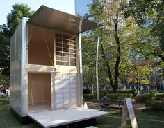 konstantin grcic rethinks aluminium truck container construction for his compact muji hut in tokyo