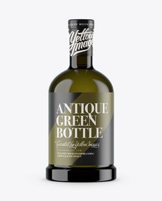 Antique Green Glass Bottle Mockup (Preview)