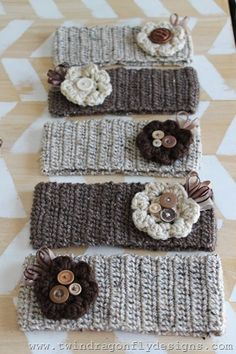 Crochet Headbands with removable crochet flowers ~ love these!