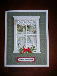 Not too long ago I got this Memory Box window die that I hadn't had a chance to use until today. You can create either a sce. Homemade Christmas Cards, Christmas Cards To Make, Xmas Cards, Homemade Cards, Childrens Christmas Crafts, Handmade Christmas, Window Cards, Window Frames, Tonic Cards