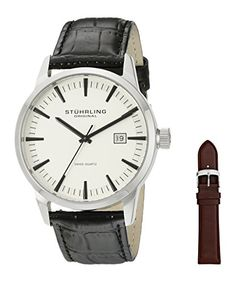 Men's Wrist Watches - Stuhrling Original Mens 555A03 Ascot II Analog Swiss Quartz Black Leather Watch *** Check this awesome product by going to the link at the image.