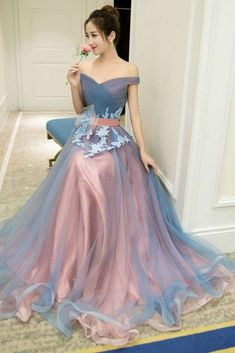 A-Line Off-the-Shoulder Tulle Long Prom Dresses Long Tulle Pleats Evening Dresse. - A-Line Off-the-Shoulder Tulle Long Prom Dresses Long Tulle Pleats Evening Dresses Source by tristessavdark - Elegant Dresses For Women, Pretty Dresses, Beautiful Dresses, Colorful Prom Dresses, A Line Prom Dresses, Dress Prom, Off Shoulder Gown Evening Dresses, A Line Evening Dress, Gown Dress