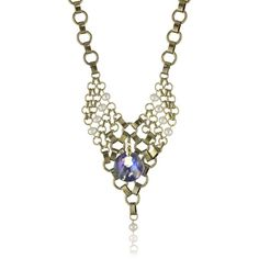 """@LionetteNY """"Debut"""" Gold Plated Crystal and Pearls Chain Mesh Necklace ❤ liked on Polyvore"""