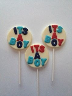 24 IT'S A BOY Chocolate Lollipops Party Favors Baby Showers, Hospital Visits, Gender Reveal on Etsy, $36.00