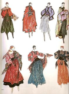 Yves St Laurent fashion sketches, 1976.