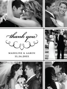"""Black & White Wedding Thank You Card with Photos, """"Love Letter Calligraphy"""" designed by Lauren DiColli Hooke (also available in Letterpress & Thermography (Raised)"""