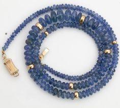 Antique-Vintage-1920-Deco-14k-Gold-Graduated-Ceylon-Blue-Sapphire-Bead-Necklace