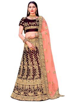 Shop dark maroon velvet wedding lehenga choli , freeshipping all over the world , Item code Bridal Lehenga, Lehenga Choli, Sari, Indian Fashion, Women's Fashion, Lehenga Online, Indian Dresses, Designer Dresses, Canada