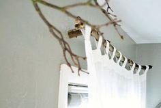 карниз для шторы из ветки дерева своими руками