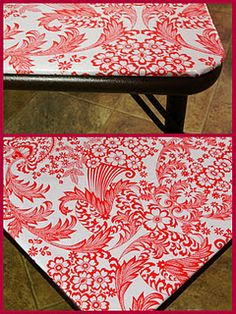 oilcloth covered card table totally cute!