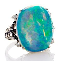 Rarities 7.78ct Opal 14K White Gold Ring with Diamond Accents - Awesome :)