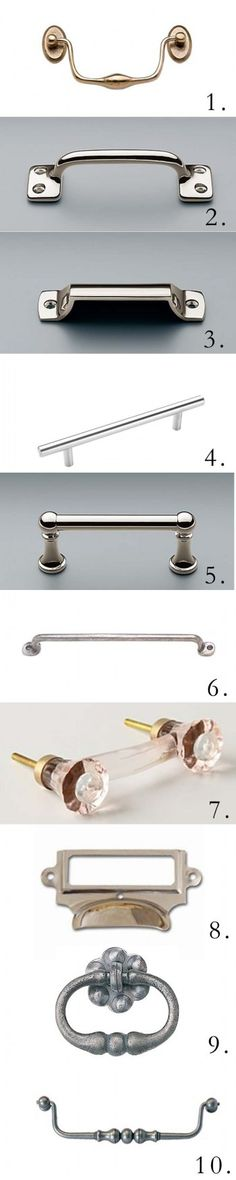 [tracery tips] cabinet hardware good choices of pulls put together by a designer Kitchen Cabinet Hardware, Kitchen Handles, Cabinet Handles, Kitchen Pulls, Kitchen Redo, Kitchen Remodel, Door Handles, Hardware Pulls, Knobs And Pulls