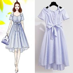 Airboat Neck French Style Striped Belt Elegant Dress – Miracles from Nature Fashion Drawing Dresses, Fashion Illustration Dresses, Fashion Dresses, Drawing Fashion, Fashion Design Drawings, Fashion Sketches, Ulzzang Fashion, Korean Fashion, Cute Fashion