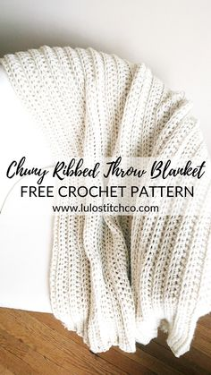 Looks like knit! Crocheted Chunky Ribbed Throw With it's classic ribbed style, this blanket looks like knit even though it's crochet! Make one for every room of your home. They make a great gift too! Crochet Throw Pattern, Crochet Diy, Manta Crochet, Afghan Crochet Patterns, Crochet Crafts, Crochet Stitches, Crochet Projects, Knitting Patterns, Crochet Afghans