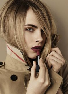 Dying to try out Burberry's new line of matte lipsticks. Love that burgundy shade on Cara Delevingne! -- Burberry Beauty Model: Cara Delevingne -- Shop the Lip Velvet collection HERE. Makeup Trends, Makeup Tips, Beauty Makeup, Hair Makeup, Hair Beauty, Blonde Makeup, Cara Delevingne Burberry, Cara Delevigne, Long Wear Lipstick