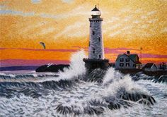 Waves Crashing on a Lighthouse #Beautiful #Handmade #Silk #Embroidery #Art 77150 http://www.queensilkart.com/100-handmade-silk-waves-crashing-on-a-lighthouse-suzhou-silk-embroidery-art-77150/ Although this scene is from New England, lighthouses are ubiquitous on Chinese coasts, the oldest date from the 8th century.