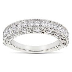 Luxurman 14k Gold 1ct TDW Diamond Milgrain and Filigree Diamond Ring | Overstock.com Shopping - The Best Deals on Women's Wedding Bands