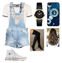 """Bored"" by leila-hussain ❤ liked on Polyvore featuring Topshop, H&M, Movado, BlissfulCASE, Converse, Hue and Forever 21"