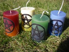Element Pillar Candles  Candle Set  Fire Water by PaganAlchemy