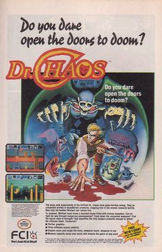 "Magazine ad for ""Dr. Chaos,"" a survival platformer released by Marionette / FCI for the Nintendo Entertainment System in 1988"