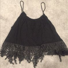 Black crop top Beautiful Black crop top with a lace trim! Charlotte Russe Tops Crop Tops