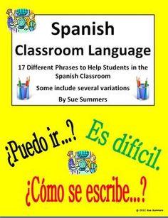 Spanish Classroom Language by Sue Summers - Lenguaje del Aula