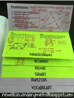 Ideas and Resources for the Secondary Math Classroom: Quadrilaterals: Properties of Parallelograms