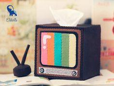 Retro Television with Antenna Tissue Box and Stationery Holder =)  #tissuebox #stationeryholder #tv #homedecoration