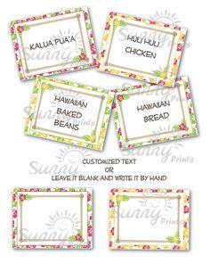 Luau printable food labels -   Sunnybydesign