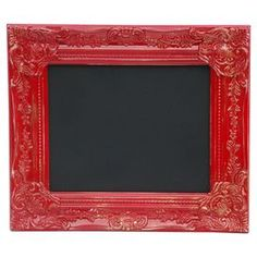Chalkboard with a hand-painted red antiqued frame.  Product: ChalkboardConstruction Material: Slate and plasticColor: Red and black