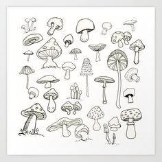 Simply Mushrooms Art Print by Annie Mason - X-Small Doodle Tattoo, Poke Tattoo, Doodle Art, Doodle Ideas, Mushroom Drawing, Mushroom Art, Cute Tiny Tattoos, Small Tattoos, Art Drawings Sketches