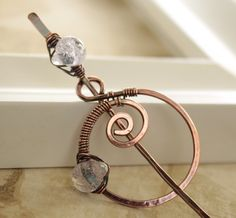 Shawl pin or scarf pin with spiral circle and pale by IngoDesign, $29.00