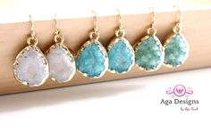 Druzy jewelry -  SALE -  Druzy color earrings - rich color - pick your color by anthology27 on Etsy