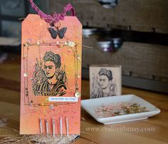 Mixed media tag by May Flaum using 28 Lilac Lane embellishments