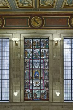 ITAP of stained glass window inside Manchester Central Library http://ift.tt/1kX3faD