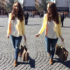 Louis Vuitton Neverfull bag in Monogram. boots & yellow blazer. Spring style