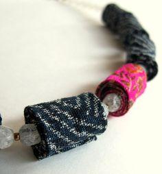 Silent Beauty fiber necklace in Dark blue and Fuchsia by Gilgulim, $47.00