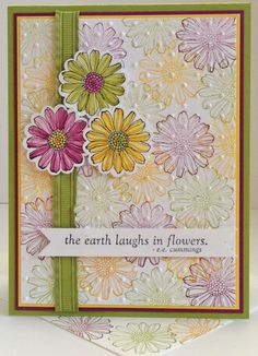 """Best of Flowers, Fabulous Florets (sentiment) & Curly Cute (inside) stamp sets; Rich Razzleberry, Lucky Limeade & Daffodil Delight inks & CS, plus Whisper White; Perfect Polka Dots embossing folder; 1 1/4"""" Scallop Circle punch; Ruffled Ribbon in Lucky Limeade"""