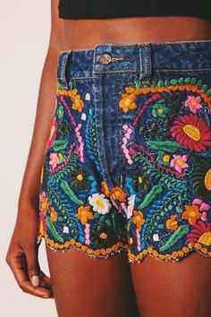 AmazingOutfits.page Shorts Denim bordado