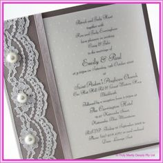 DIY Wedding Invitation -  Lace,  Pearls~Explore more DIY wedding ideas, how to choose a wedding dress and the best honeymoon destinations on www.mrspurplerose.com #WeddingDecorations #WeddingThemes #WeddingIdeas