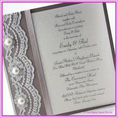 DIY Wedding Invitation -  Lace,  Pearls~Explore more DIY wedding ideas, how to choose a wedding dress and the best honeymoon destinations on www.mrspurplerose.com #WeddingDecorations #WeddingThemes #WeddingIdeas