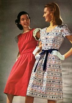 40s fashion style color photo print ad models magazine day dress floral print short sleeves button front white pink blue black red dress....Embedded image permalink