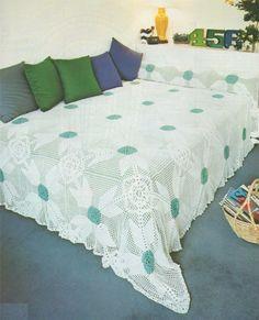 PDF Bedspread Cover Crochet Pattern : Blanket / Throw . Instant Digital Download . Bedroom Bedding Bedspread Cover Crochet Pattern by PDFKnittingCrochet on Etsy