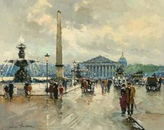 Antoine Blanchard (French artist, 1910-1988) ~  'Place de la Concorde'