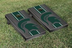 Gray Onyx Michigan State University Spartans Varsity Stripe Cornhole Game