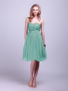 """Strapless Pleated Sheer-Chiffon Bridesmaid Dress  It's the same """"Seafoam"""", but the lighting is weird."""